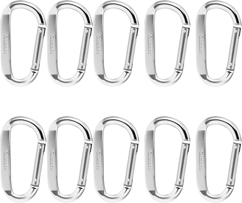Gimars - Mosquetones de aleación de Aluminio, Llavero en Forma de D con Cierre de Resorte, Gancho para Camping, Senderismo, Viajes