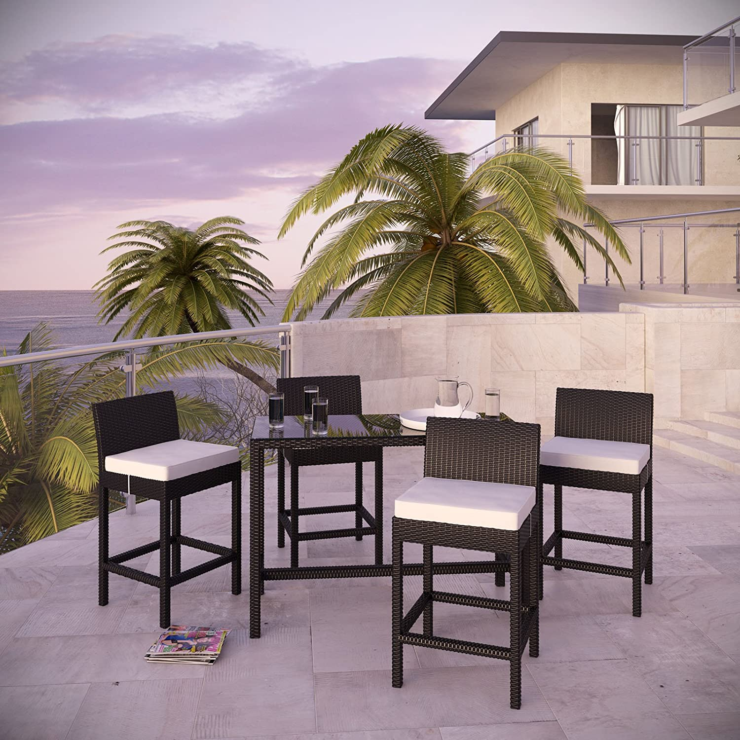 Amazon Portland 5 Piece Outdoor Patio Pub Set Espresso