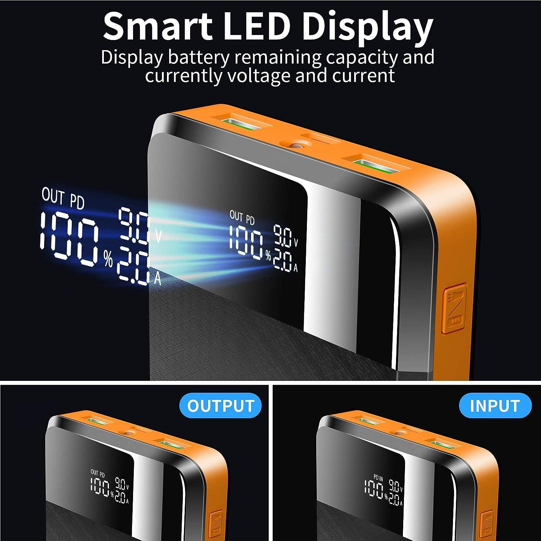 ORITO Bater/ía Externa 26800mAh Power Bank PD18W Carga R/ápida QC3.0 Cargador Port/átil con 3 Entradas y 3 Salidas y Pantalla LCD para M/óviles y Tabletas y M/ás