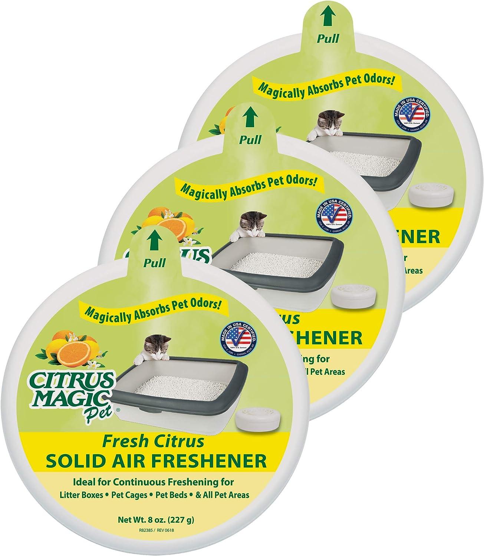 Citrus Magic Pet Odor Absorbing Solid Air Freshener, Pack of 3, 8-Ounces Each