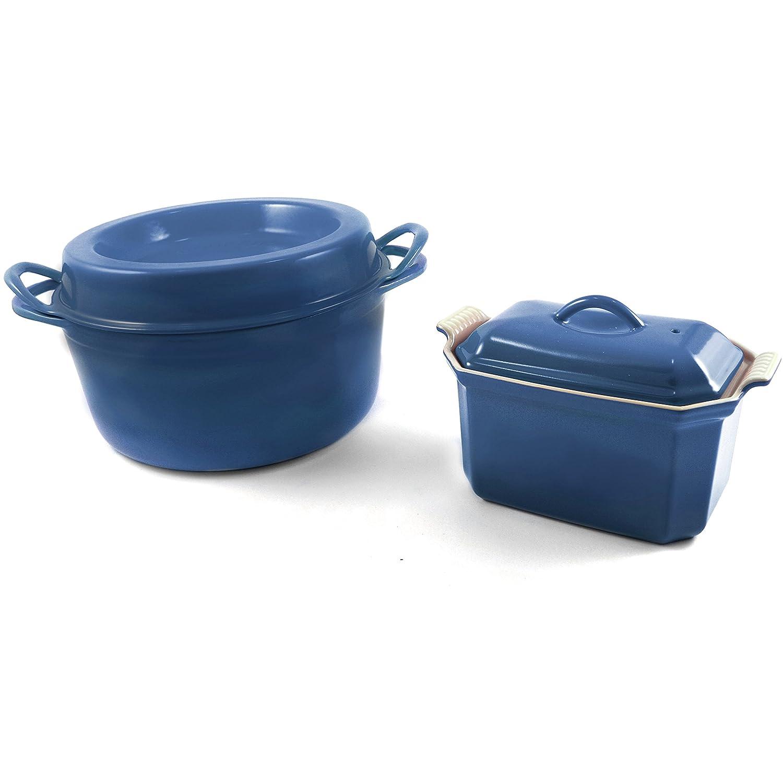 Le Creuset Marsella azul esmaltado hierro fundido Doufeu y gres Pate terrina batería de cocina: Amazon.es: Hogar