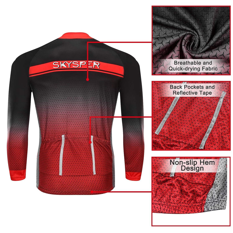 SKYSPER Ciclismo Maillot Mujer Jersey Pantalones Largos Culote Mangas Largas de Ciclismo Conjunto de Ropa Maillot Entretiempo para Deportes al Aire Libre Ciclo Bicicleta