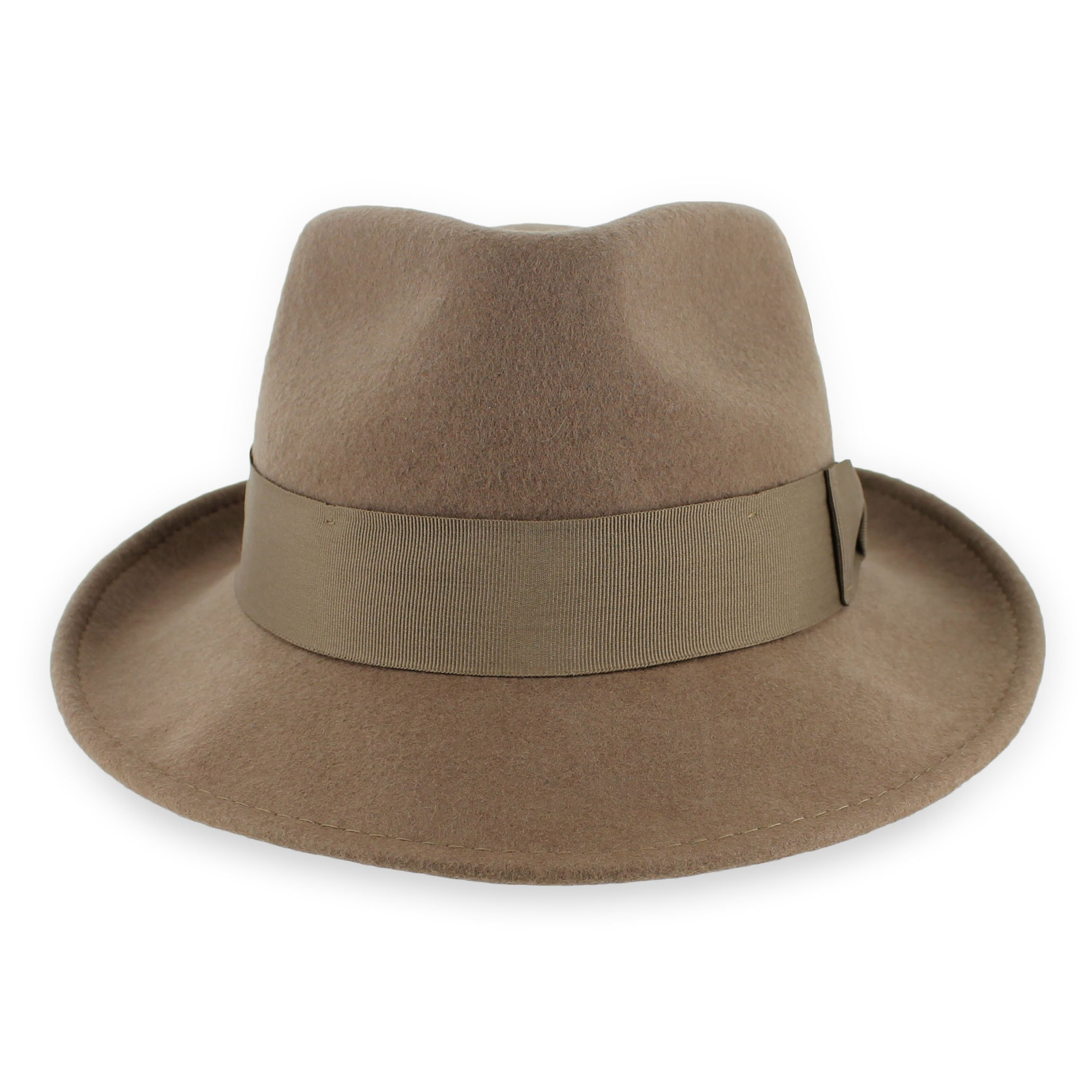 Belfry Gangster 100% Wool Stain-Resistant Crushable Dress Fedora in 4 Colors (XXLarge, Pecan)