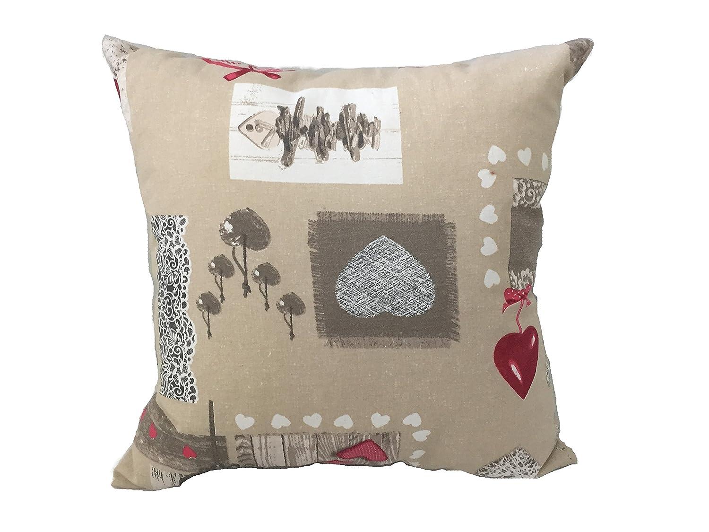 Cuscino salotto arredo shabby Rosso arredamento casa divano letto in 100/% cotone