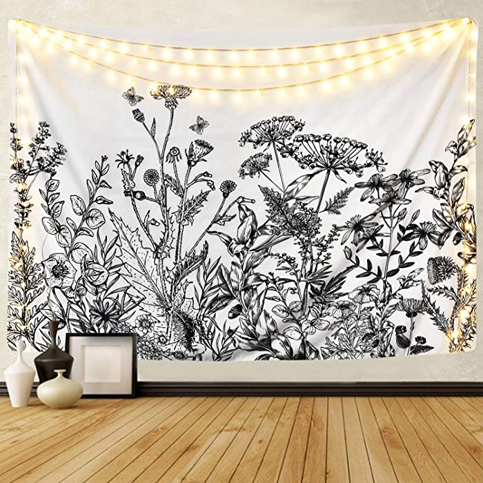 BLEUM CADE Herbs Plant Wild Flowers Tapestry Wall Hanging Floral Plants Tapestry Nature Scenery Tapestry for Living Room Bedroom Dorm Home Decor