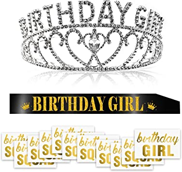 Konsait Crystal Corona Cumpleaños Diadema Tiara y Brillo Negro ...