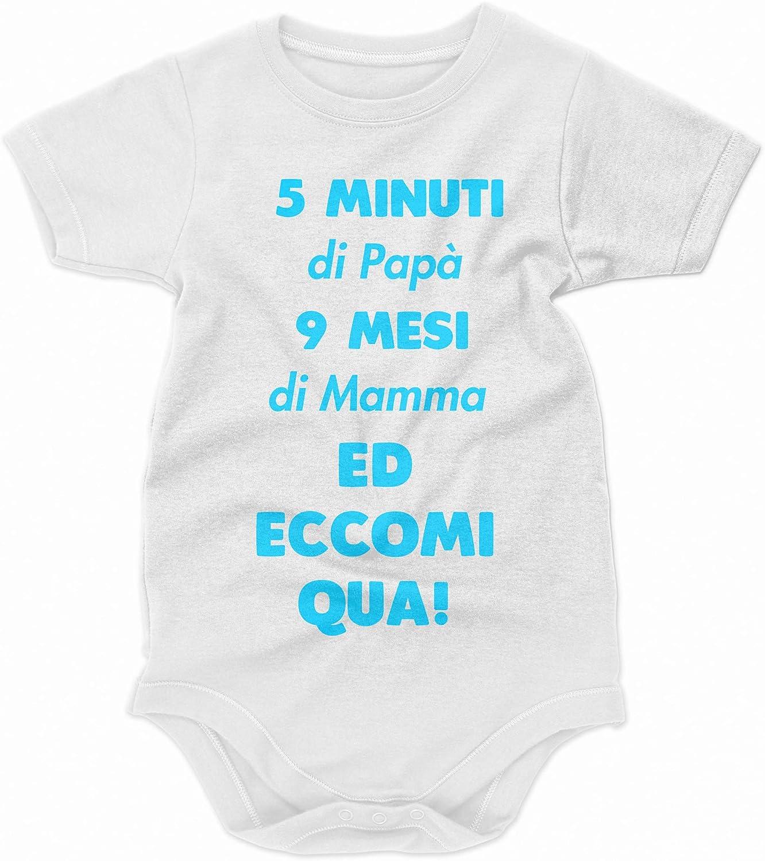 Idea Regalo bubbleshirt Body da Neonato Maschietto 5 Minuti di pap/à 9 Mesi di Mamma ed eccomi Qua! Body Simpatici e Divertenti