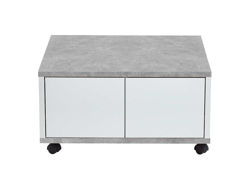 FMD Moebel GmbH Frey H01 Beistelltisch 70 x 70 x 36 H cm, grau weiß nobilitiert