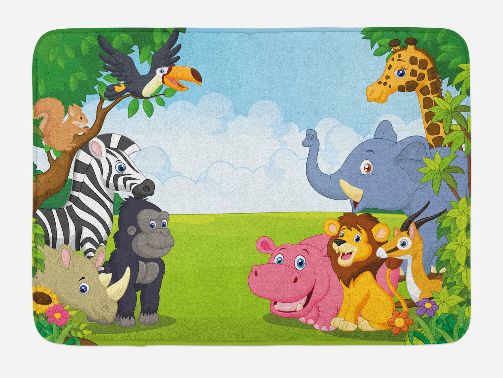Ambesonne Kids Bath Mat, Kids Design Children Nursery Room Safari Themed Cartoon Animals Image Artwork Print, Plush Bathroom Decor Mat with Non Slip Backing, 29.5 W X 17.5 W inches, Multicolor
