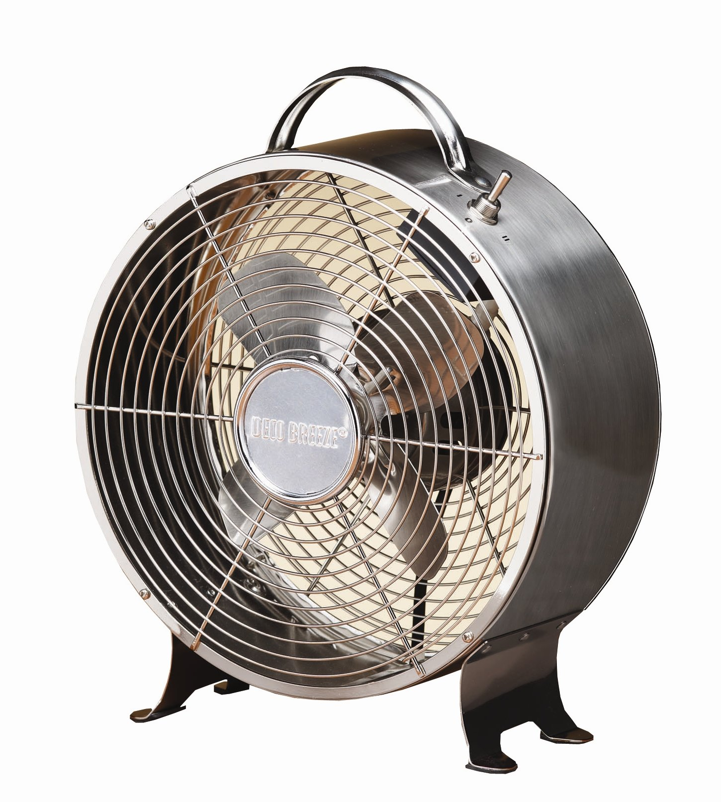 Deco Breeze Round Retro Table Fan, Stainless Steel, 12-1/2-Inch by 10-Inch