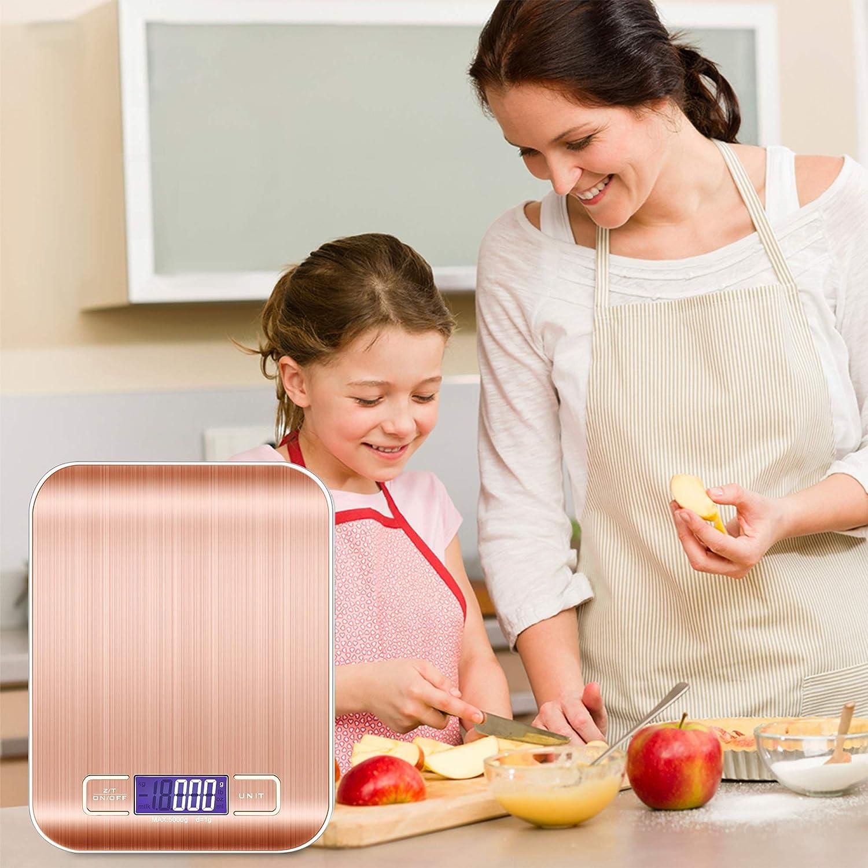 Intirilife Digitale K/üchenwaage in ROS/É Gold 5kg Elektronische Waage f/ür die K/üche mit Tara Funktion wasserdichte Extrem Pr/äzise K/üchen-Digitalwaage mit LCD-Display ideal zum Kochen