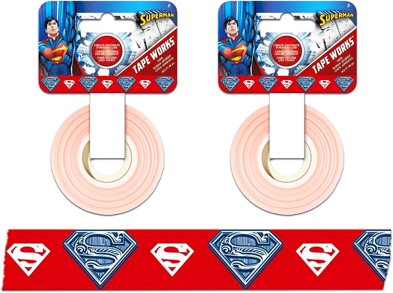"DC Comics Superman Washi Tape ~ 2 Pack Superhero Masking Tape for Gift Wrap, Arts & Crafts, Scrapbook, and More, 0.6"" Wide (Superhero Crafts)"
