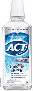 ACT Anticavity Zero Alcohol Fluoride Mouthwash 18 fl. oz, with Accurate Dosing Cup, Iced Berry