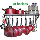 """30"""" Wall mounted pots and pans rack. Pot holders wall shelves with 10 hooks. Kitchen shelves wall mounted with wall hooks. Kitchen storage pot holder pot rack. Pot pan organizer. Pot Pan rack."""
