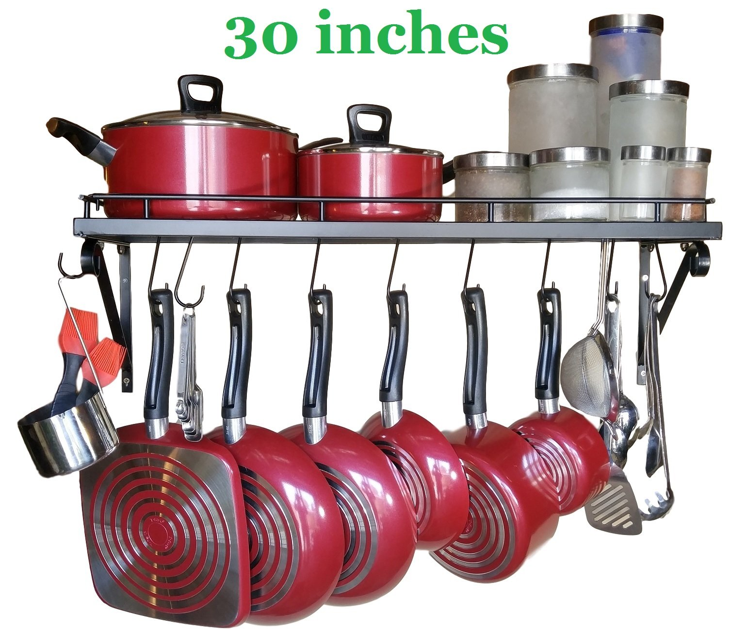 30'' Wall mounted pots and pans rack. Pot holders wall shelves with 10 hooks. Kitchen shelves wall mounted with wall hooks. Kitchen storage pot holder pot rack. Pot pan organizer. Pot Pan rack.