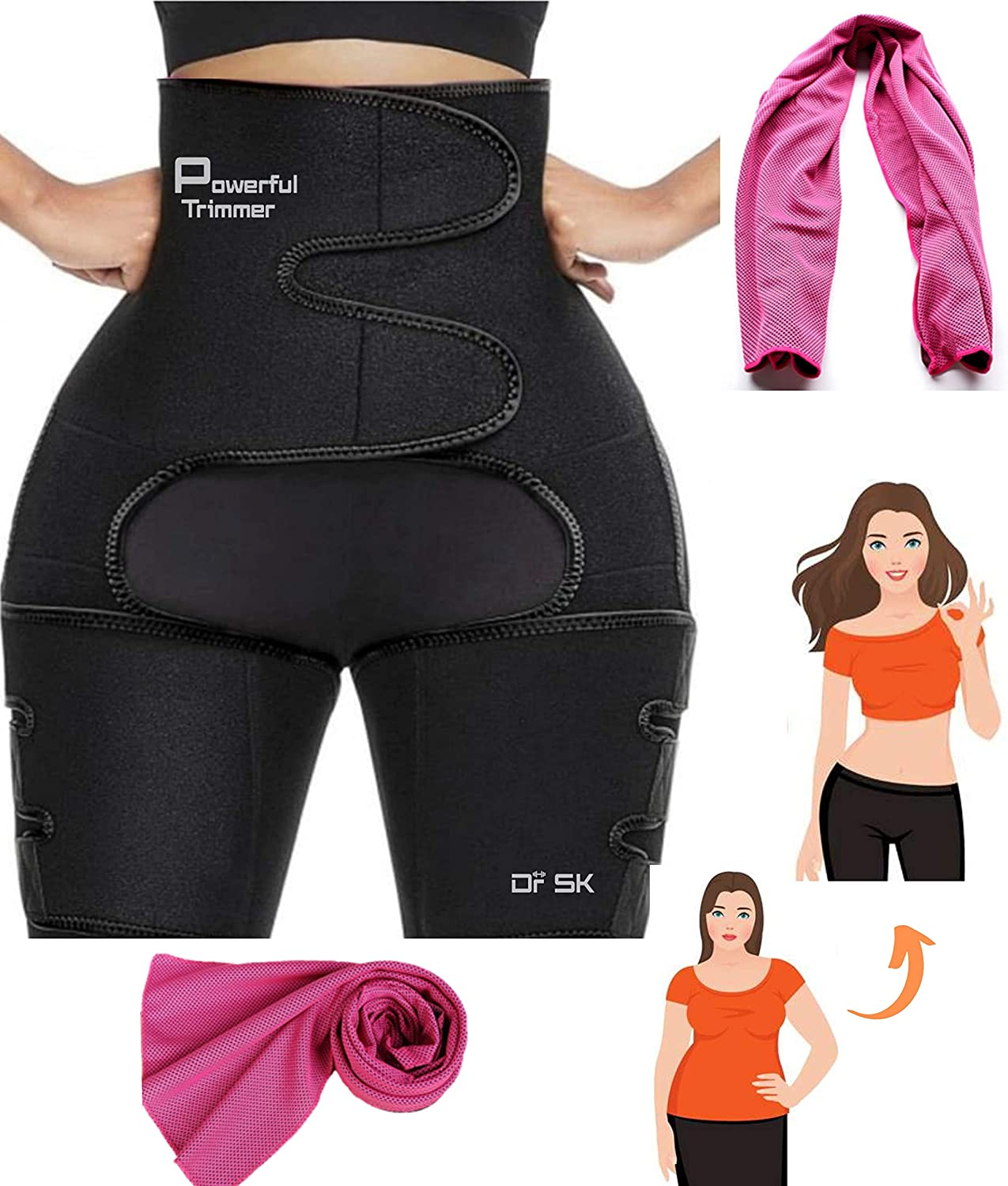Adjustable 3 in 1 Body Shaper Thigh Trimmer Butt Lifter Slimming Support Fitness Sweat Belt for Tummy Control Weight Loss High Waist KRX Thigh Waist Trainer for Women