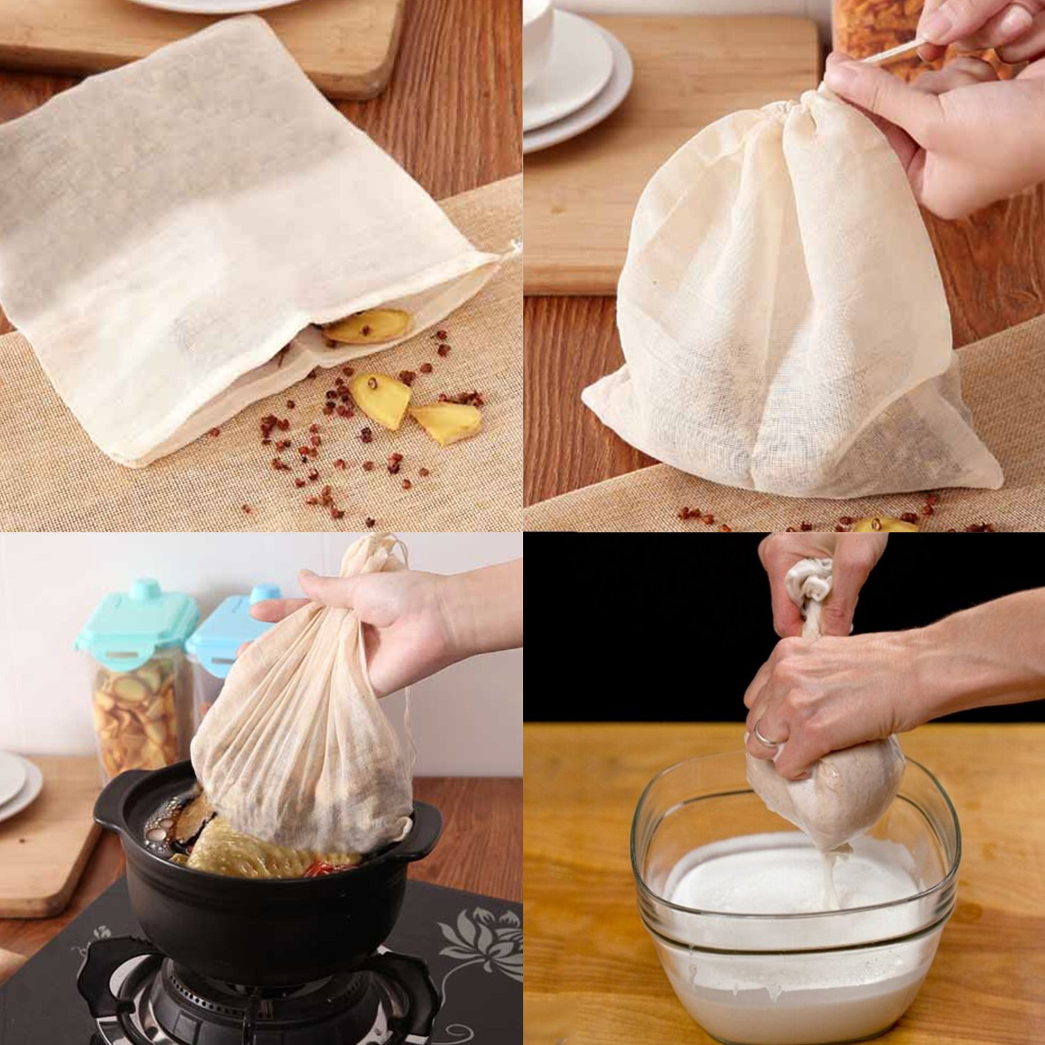 Cheesecloth /63 Sq Feet: Grade 90-100% Unbleached Cotton - Reusable All Purpose Food Strainer & Cold Brew Coffee Filter - Nut Milk Bag (7 Yards) by La Babite (Image #4)