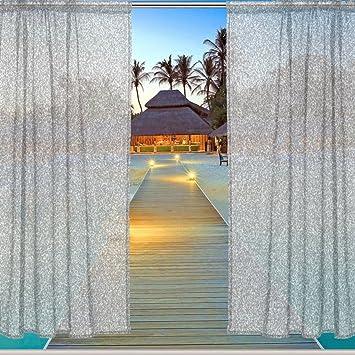 ALAZA Window Sheer Curtain Panels,Christmas Decoration Gray Sparkling  Brightly Bling,Door Window Gauze