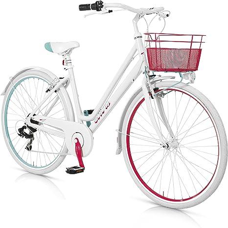 MBM Colors - Bicicleta de Paseo para Mujer de 6 velocidades, Cuadro de Aluminio Talla 50, Frenos V-Brake, Horquilla Acero y Ruedas de 28