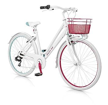 MBM Colors - Bicicleta de Paseo para Mujer de 6 velocidades, Cuadro de Aluminio Talla