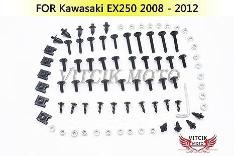 VITCIK Full Fairings Bolt Screw Kits for Kawasaki EX250R Ninja 250 EX-250R ZX250R 2008 2009 2010 2011 2012 Motorcycle Fastener CNC Aluminium Clips ...