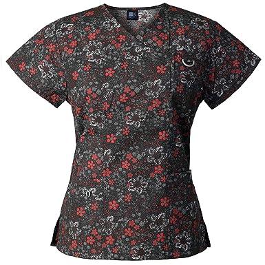 245a035e473 Medgear Women's Printed Scrub Top, ID Loop & 4 Pockets Medical Uniform FDRB  Black