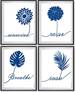 ULG Bathroom Decor Art Prints Relax, Soak, Unwind, Breathe Blue Flower Signs Poster Prints Set of 4 - Unframed - 8x10s