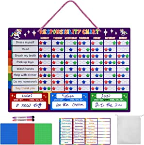 Chore Chart for Kids, USFY Strong Magnetic Dry Erase Responsibility Chart for Multiple Kids, Good Behavior Reward Chart for Wall or Refrigerator at Home(Purple)
