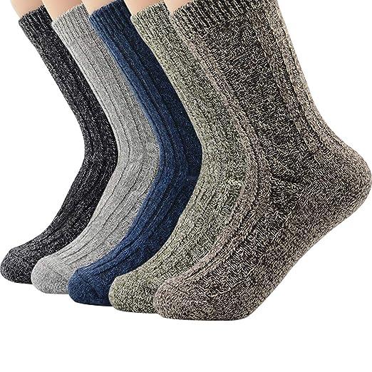 e37ae8cb2edd5 Zando Men Soft Merino Wool Knit Thick Socks Winter Warm Casual Cozy Crew  Sock Comfort Cabin
