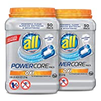 2 Tubs All Powercore Pacs Laundry Detergent with Oxi, 50-Ct Deals