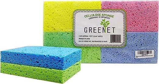 Greenet - Esponjas de limpieza de celulosa - Pack de 16 esponjas 100% naturales de cocina + 2 almohadillas de estropajo resistentes - Super duraderas, reutilizables y biodegradables: Amazon.es: Hogar