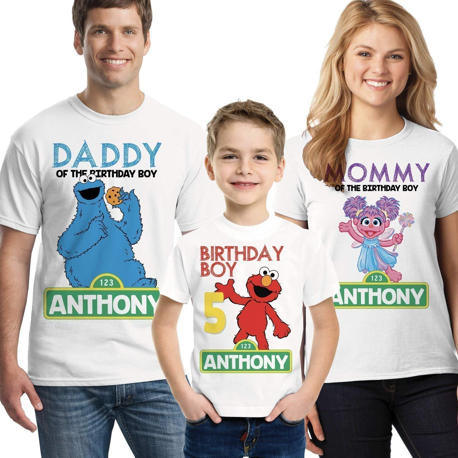 New Abby Elmo Personalized Custom Birthday T Shirt Add Name /& Age Sesame Street