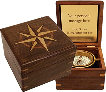 """lot of 10 brass compass push button 2/"""" with beautiful wooden box stanley london"""