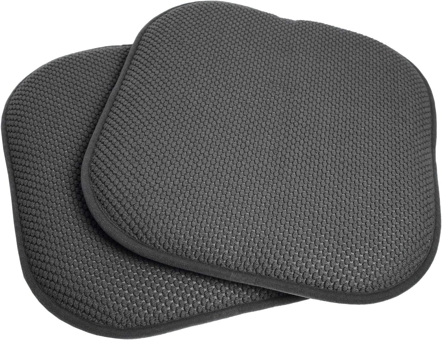 Sweet Home Collection 16x16 Memory Foam Non-Slip Chair Pad Seat Cushion Sets - 16 X 16 Grey Set of 2 Indoor-Outdoor, Lounge, Non Slip