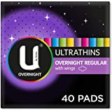 U By Kotex Ultrathin Overnight Pads with Wings (Pack of 40)