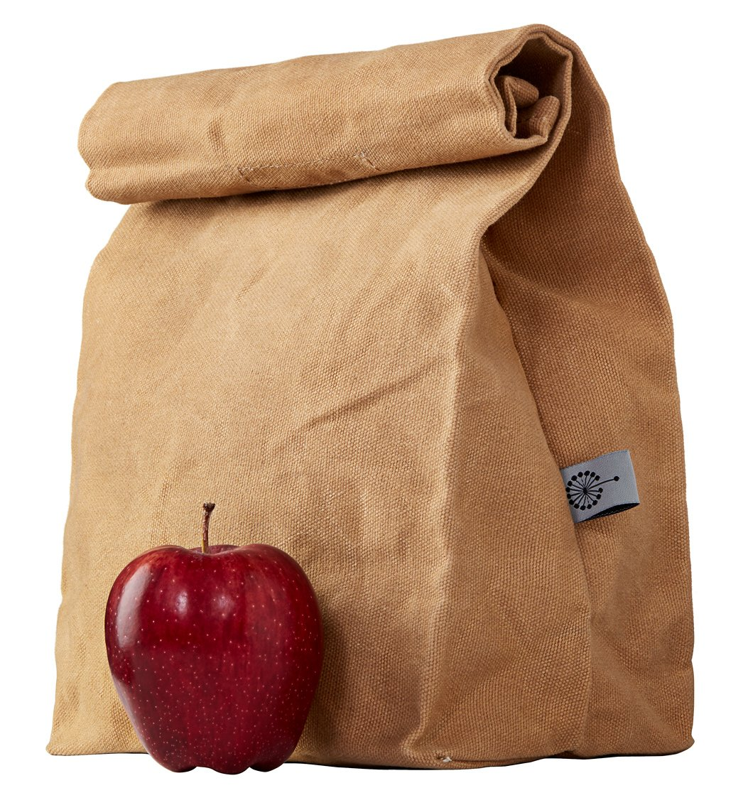 COLONY CO. Lunch Bag, Waxed Canvas, Durable, Plastic-Free, for Men, Women and Kids, Brown by COLONY CO