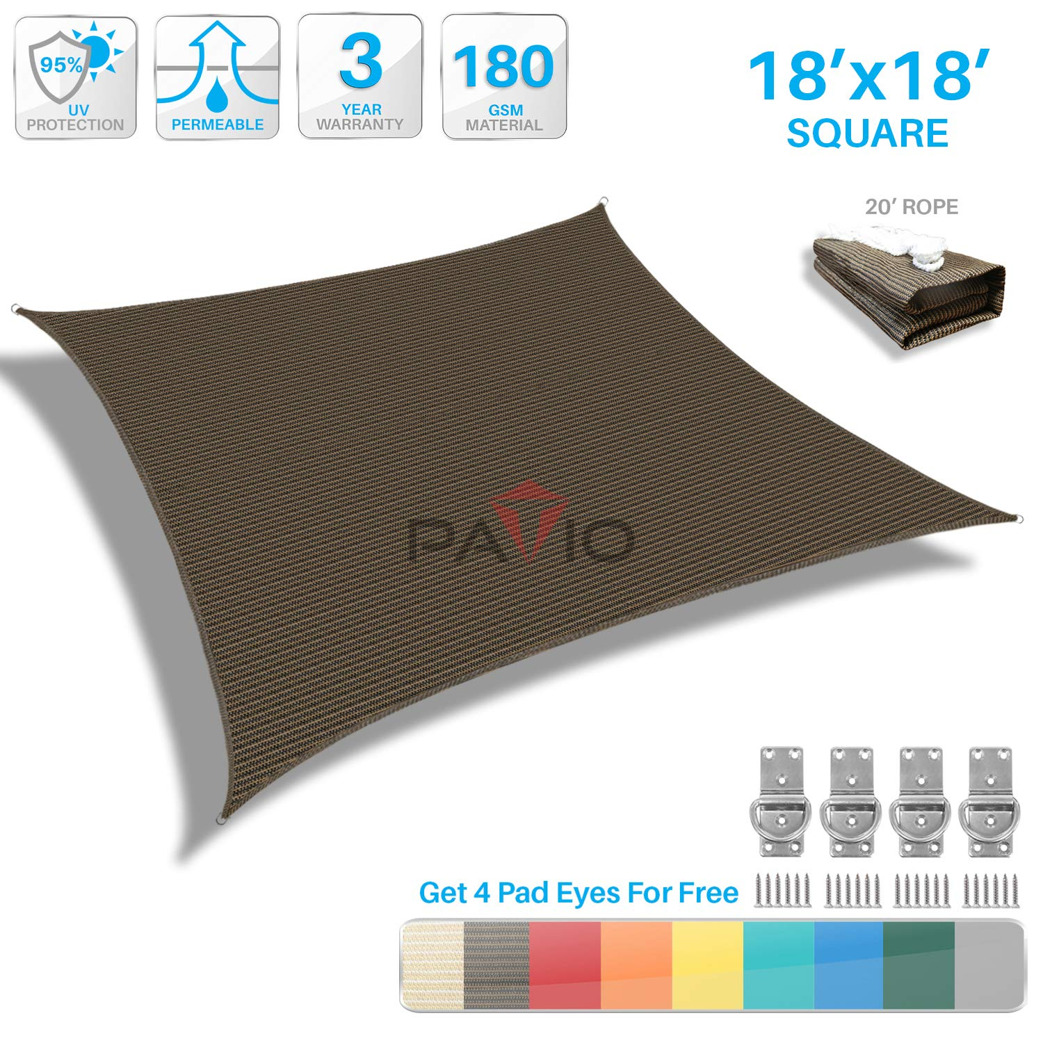 Patio Paradise 18' x 18' Brown Sun Shade Sail Square Canopy - Permeable UV Block Fabric Durable Outdoor - Customized Available
