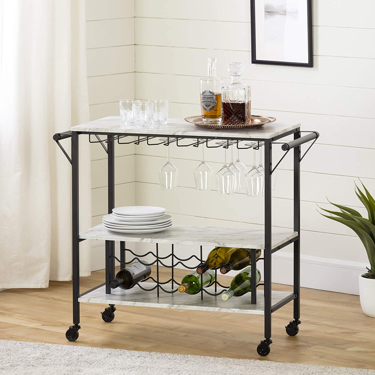 South Shore Maliza Bar Cart Bottle Storage and Wine Glass Rack-Faux Marble and Black