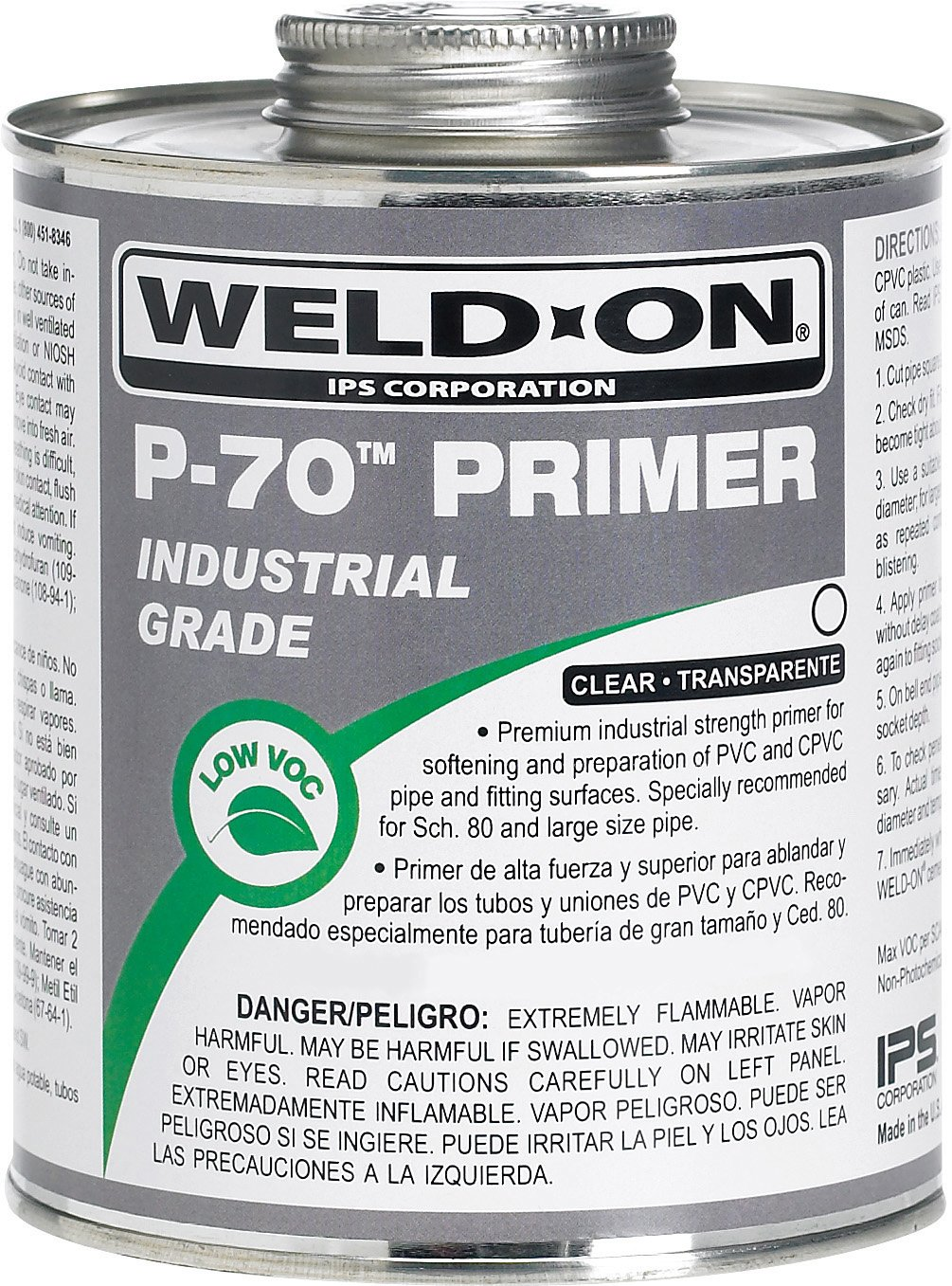 Weld-On 10224 P-70 Clear PVC/CPVC Primer, Low-VOC, 1 pint Can with Applicator Cap, Metal Can