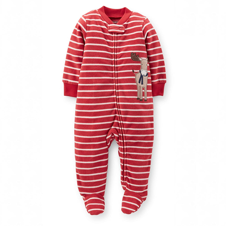 Newborn Baby Girl BoyChristmas Pyjama 1-Piece Microfleece Snap-Up Sleeper- Red Reign Deer) Carter's
