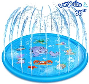 """Inflatable Splash Pad Sprinkler for Kids Toddlers, Kiddie Baby Pool, Outdoor Games Water Mat Toys - Baby Infant Wadin Swimming Pool - Fun Backyard Fountain Play Mat for 1-12 Year Old Girls Boys (68"""")"""
