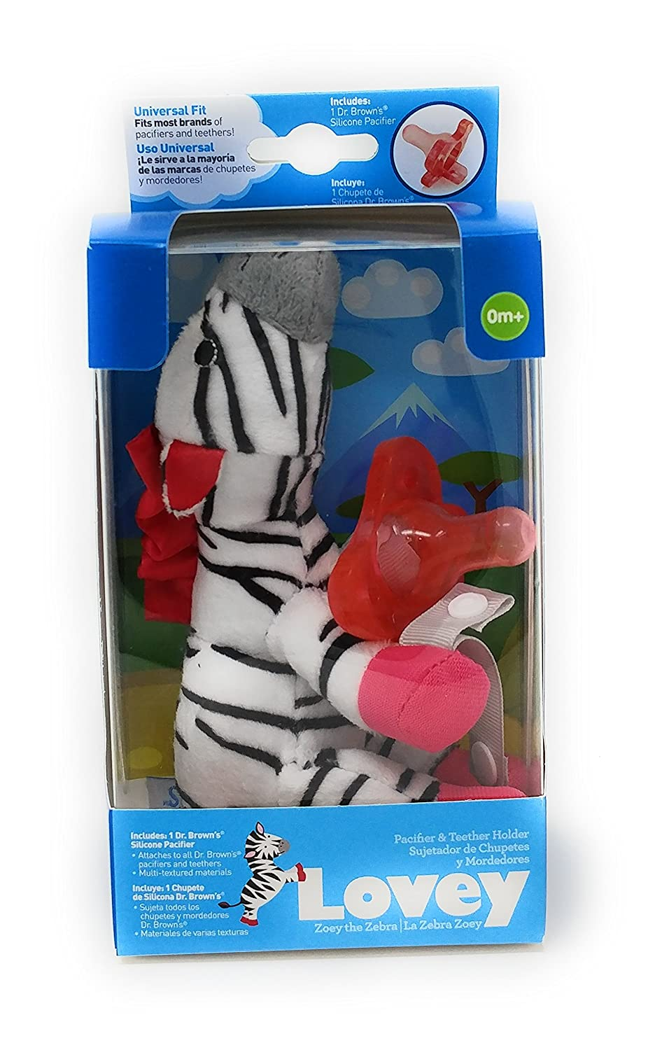 Amazon.com: Dr. Browns Zebra Lovey with Pink One-Piece Pacifier ...