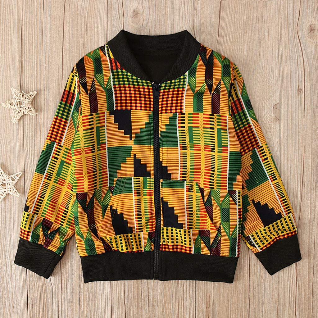 SO-buts Toddler Kids Baby Girl Boy Autumn Winter Dashiki African Print Casual Floral Windproof Coat Warm Outwear Jacket