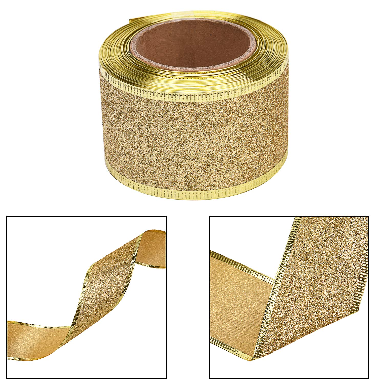Gold//Red 11 Yards//Roll 2 Inch Wide Livder 2 Rolls Christmas Glitter Ribbon for Christmas Tree Decorations Gift Wrapping