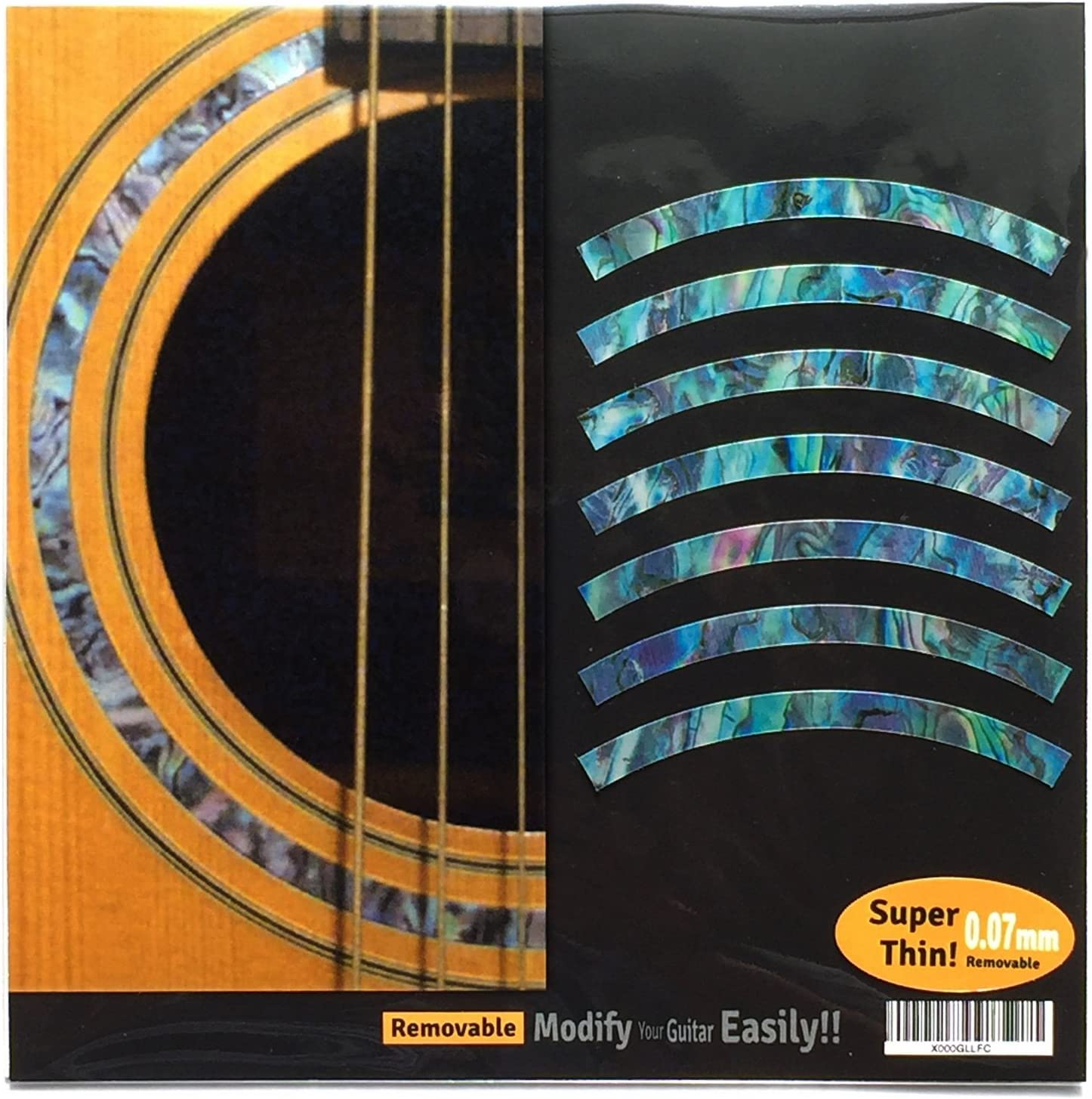 Inlay Sticker Decal Acoustic Guitar Purflinng Sound hole In Abalone Theme - Rosette Strip /BL