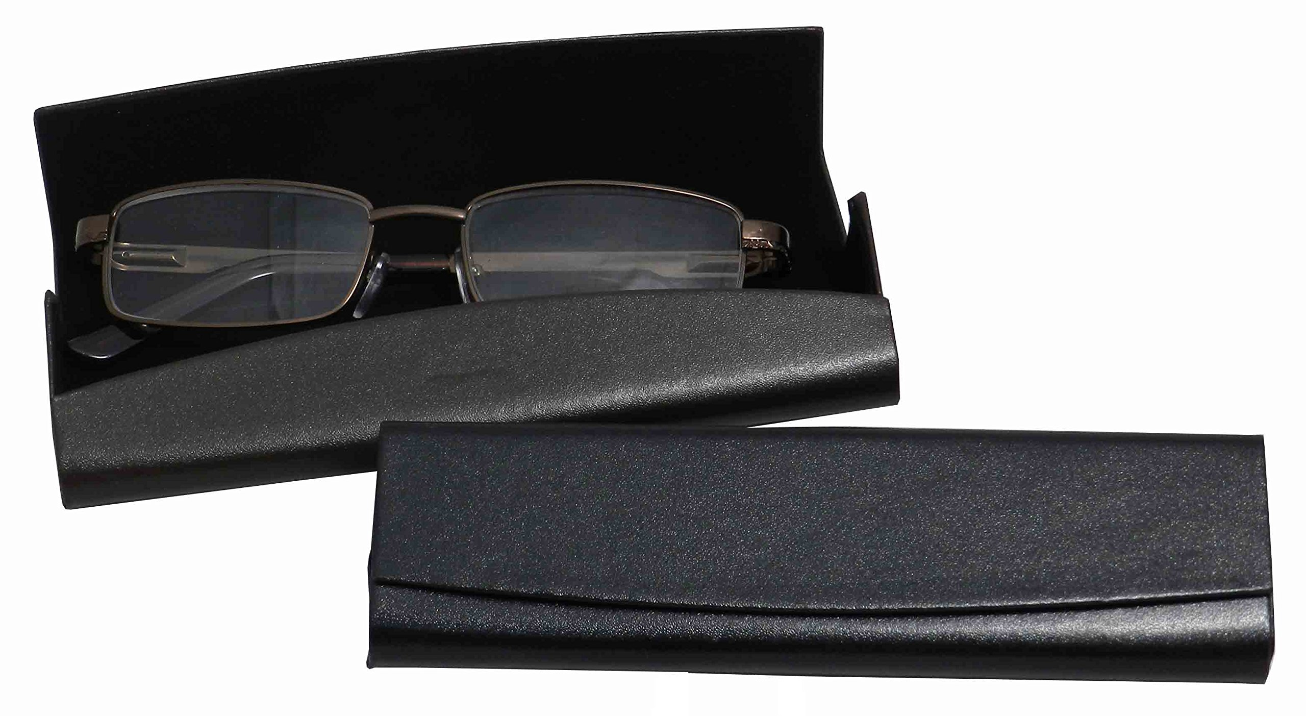 Smooth Faux Leather Eyeglass Case Magnetic Front Closure Black Fits Small Frames by Ron's Optical (Image #3)