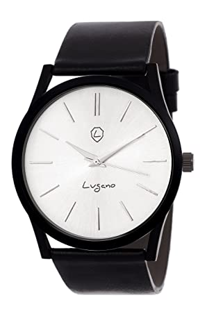 c2755a547 Buy Lugano LG 1100 Exclusive Black Slim Series Watch - For Men Online at  Low Prices in India - Amazon.in