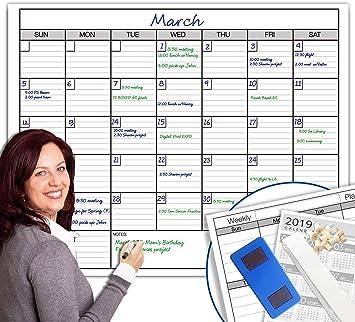 Whiteboard Monthly Calendar Planner Jumbo Erasable Room Office Dry Erase Board