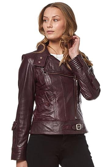 Supermodel Ladies Oxblood Rock Biker Style Designer Real Nappa