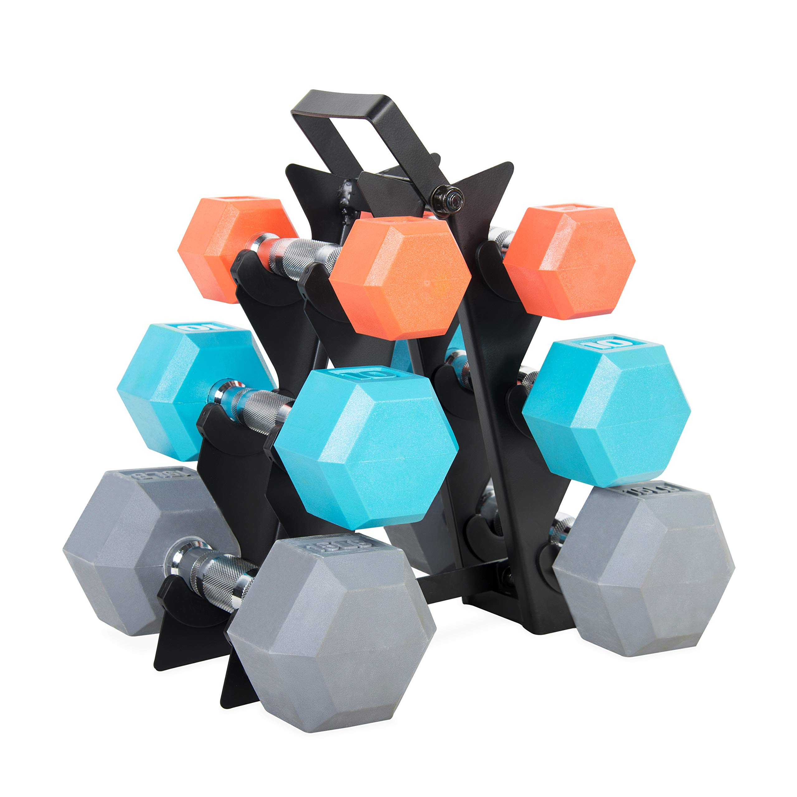 WF Athletic Supply Dumbbell Set with Storage Rack (60 LB Color Coated Dumbbell Set) by WF Athletic Supply
